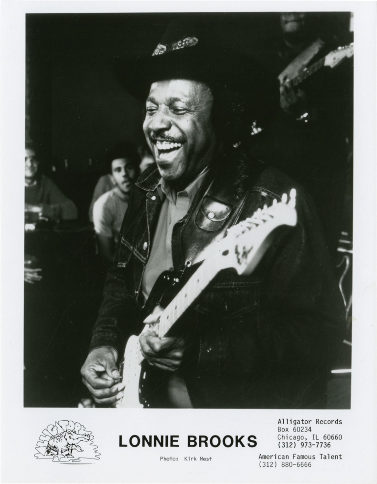 Archive of 7 original photographs of Alligator Records artists, circa 1970s. Alligator Records, Lonnie Brooks Ed Williams, Maurice John Vaughn, Lil Ed, the Blues Imperials, subjects.