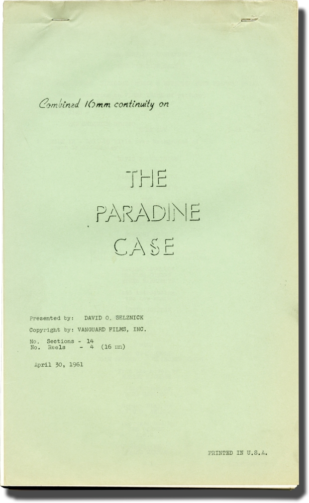 The Paradine Case. Alfred Hitchcock, Robert Hitchens, James Bridie Ben Hecht, Alma Reville, Charles Laughton Gregory Peck, director, novel, screenwriters, starring.