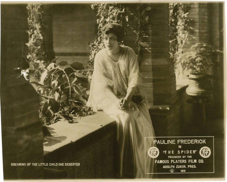 Two photographs from lost films starring Pauline Frederick: Bella Donna and The Spider. Pauline Frederick, starring.