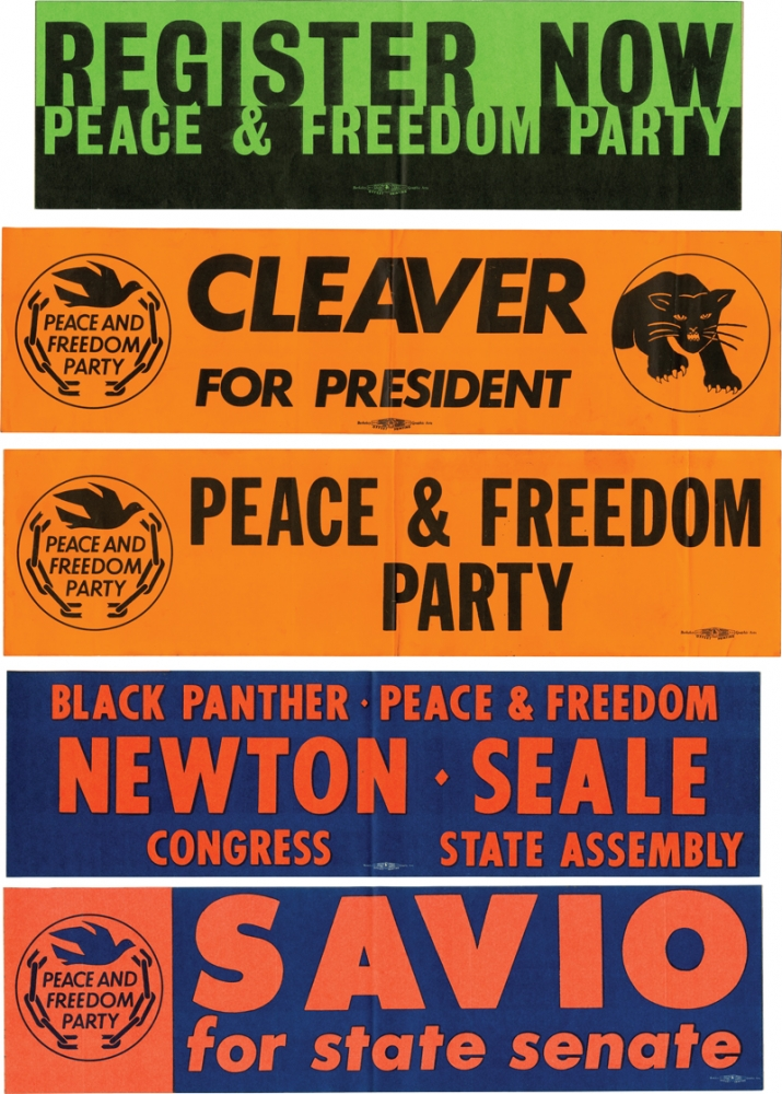 Collection of 5 original Black Panther / Peace and Freedom Party oversize bumper stickers. Black Panthers, Peace, Freedom Party, Marco Savio, Huey Newton Eldridge Cleaver, Bobby Seale.