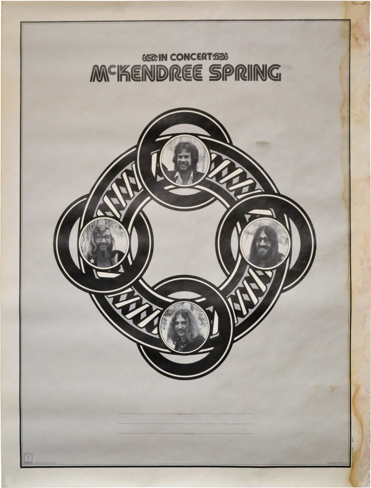 McKendree Spring music tour poster blank. Mckendree Spring, Michael Dreyfuss.