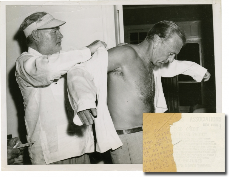 Original photograph of Ernest Hemingway and Gary Cooper, 1956. Ernest Hemingway, Gary Cooper, subjects.