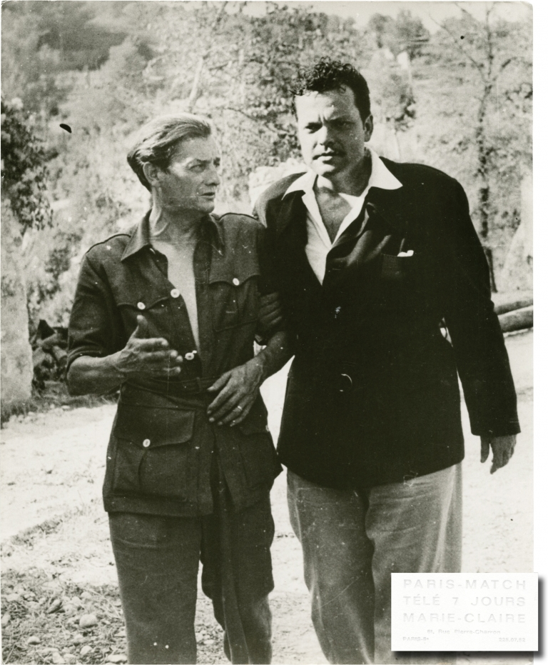 Original photograph of Orson Welles and Marcel Pagnol, circa 1950. Orson Welles, Marcel Pagnol, subject.