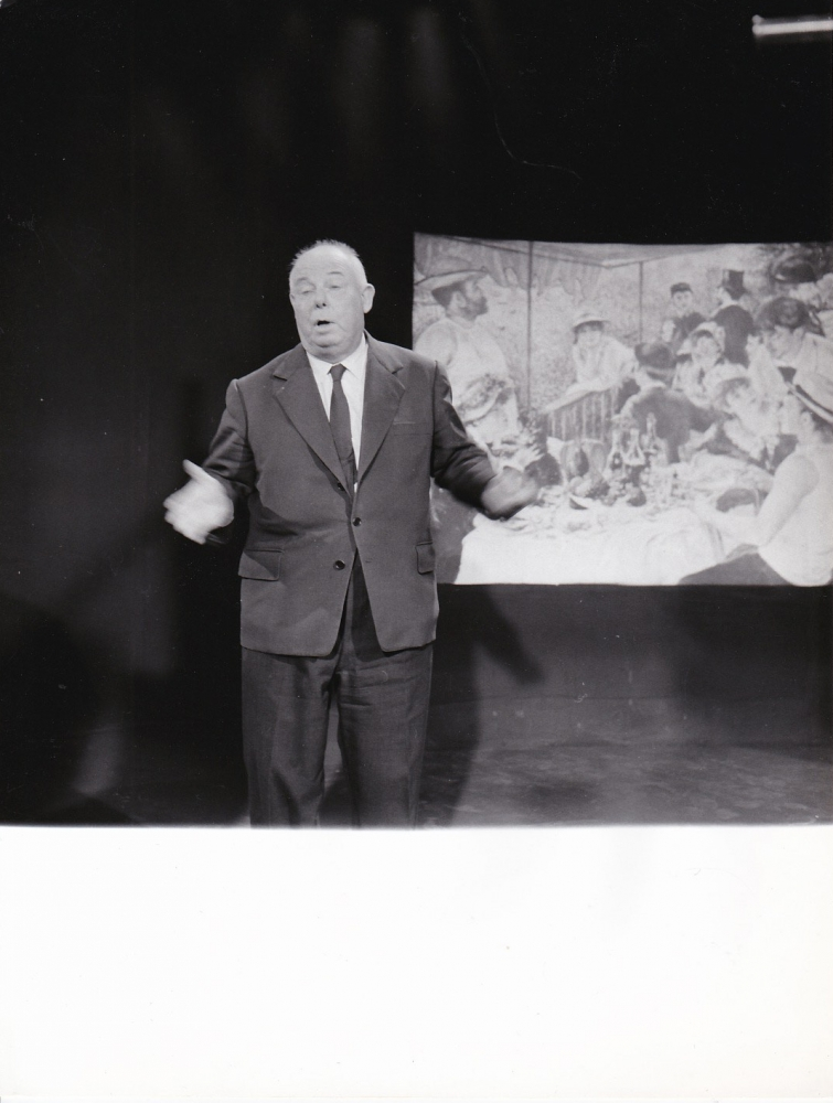Archive of five original photographs of Jean Renoir on French television, 1958. Jean Renoir.