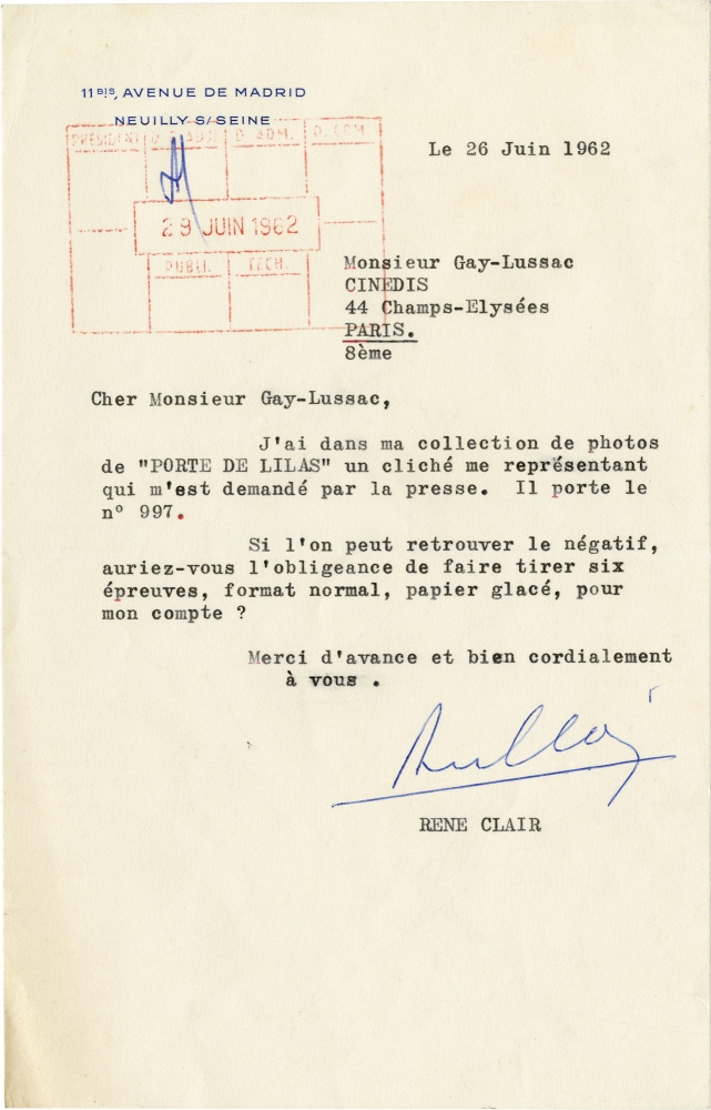Typed Letter Signed from Rene Clair to Monsieur Gay-Lussac, 1962. Rene Clair.