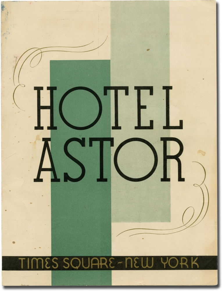 Lunch menu for the Hotel Astor, Times Square, New York City, Wednesday October 7, 1936. Hotel Astor, Vincent Lopez, Beauvell His Orchestra, Tova, music.
