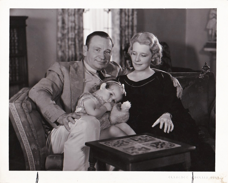 Original photograph of Wallace and Rita Beery with their daughter Carol, 1932. Wallace Beery, Carol Beery Rita Beery, Clarence Sinclair Bull, subjects, photographer.