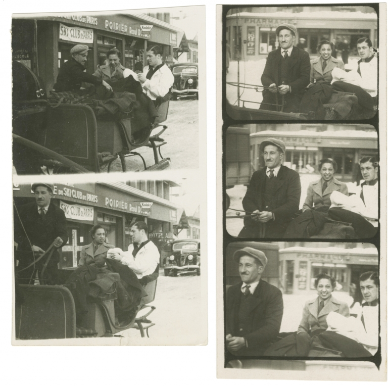Two contact strips with five images of Josephine Baker and her husband Jean Lion, circa 1938. Josephine Baker, subject.