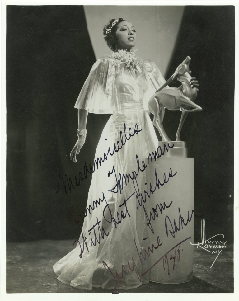 Original publicity photograph of Josephine Baker, signed, 1940. Josephine Baker, Murray Korman, subject, photographer.
