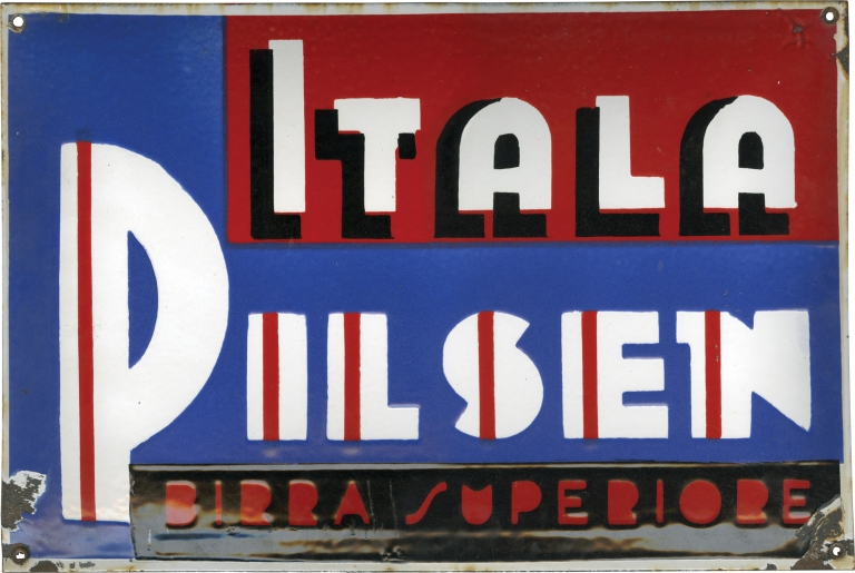 Original Itala Pilsen beer sign used in The Godfather. The Godfather.