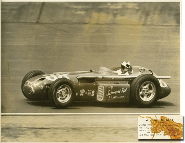 Archive of 27 oversize photographs of Indy race cars at the Indianapolis Motor Speedway, circa 1957. J. O. Wilson, photographer.