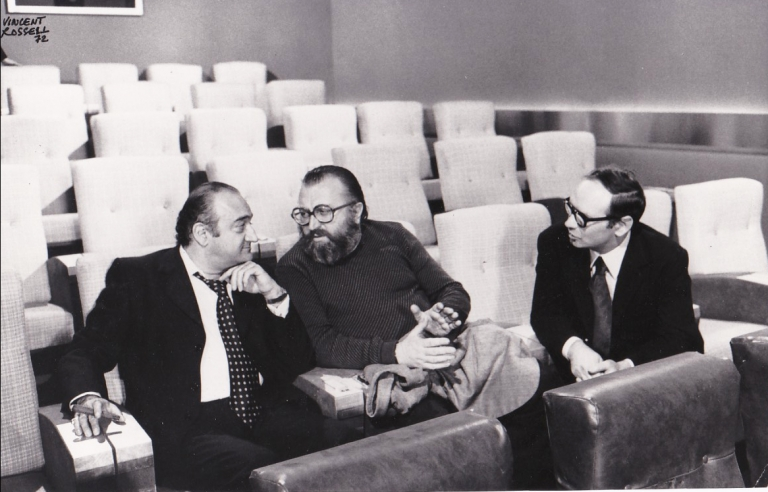 Original photograph of Sergio Leone, Ennio Morricone, and Henri Verneuil, 1972. Sergio Leone, Henri Verneuil Ennio Morricone, Vincent Rossell, subjects, photographer.