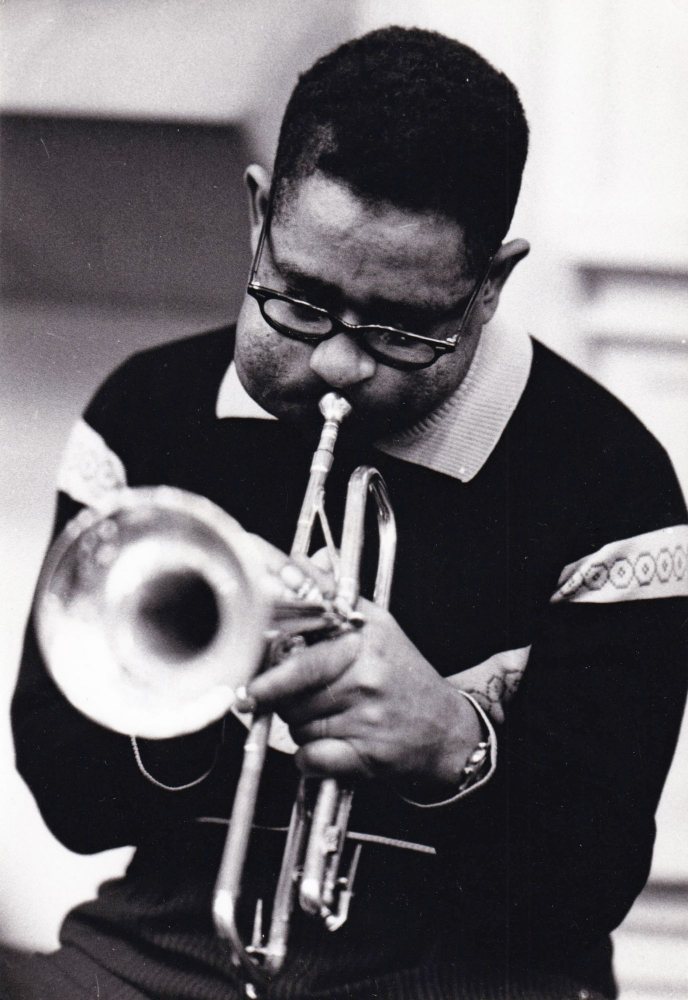 Original photograph of Dizzy Gillespie, circa 1965. Dizzy Gillespie, Jean-Pierre Leloir, subject, photographer.