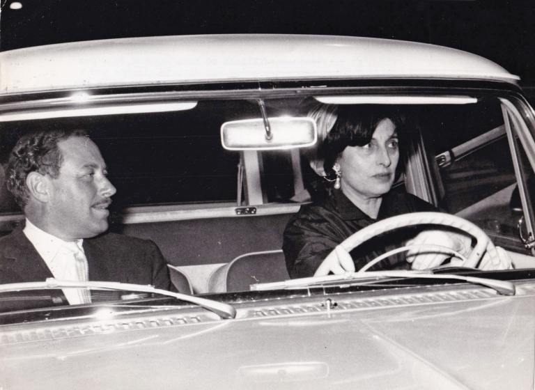 Original photograph of Tennessee Williams and Ana Magnani, 1960. Tennessee Williams, Anna Magnani, subjects.