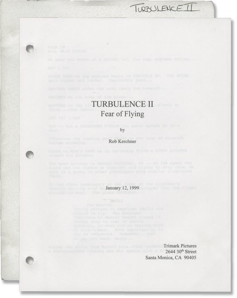 Turbulence 2: Fear of Flying [Turbulence II: Fear of Flying]. David Mackay, Brendan Broderick Rob Kerchner, Kevin Bernhardt, Jennifer Beals Craig Sheffer, director, screenwriters, starring.