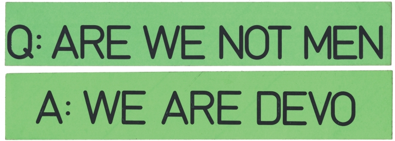 Original promotional bumper stickers for Q: Are We Not Men? A: We Are Devo! Devo.