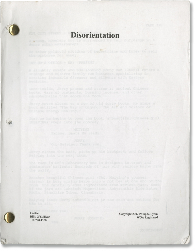 Disorientation. Philip S. Lyren, screenwriter.