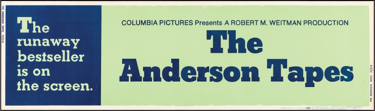The Anderson Tapes. Sidney Lumet, Frank Pierson, Dyan Cannon Sean Connery, Alan King, Martin Balsam, director, screenwriter novel, starring.