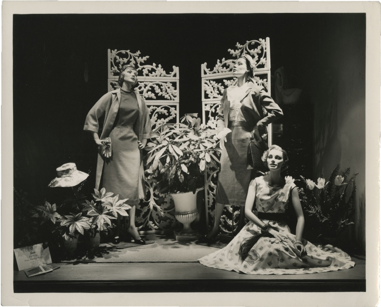 Collection of 140 original photographs of department store window displays in New York City and Southern California, circa 1950s. Fashion.