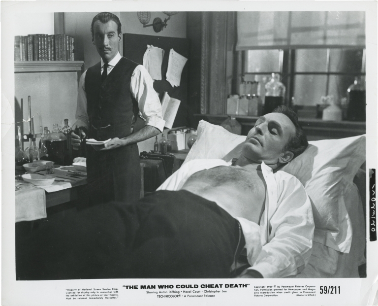The Man Who Could Cheat Death. Terence Fisher, Barre Lyndon, Jimmy Sangster, Hazel Court Anton Diffring, Christopher Lee, director, play, screenwriter, starring.