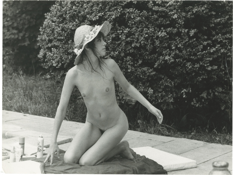 Original photograph of Jane Birkin lounging poolside, 1973. Jane Birkin, Jean-Pierre Fizet, subject, photographer.
