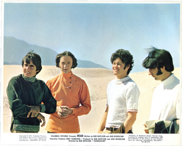 Head. Bob Rafelson, Jack Nicholson, Davy Jones Peter Tork, Michael Nesmith, Micky Dolenz, screenwriter director, screenwriter, starring.