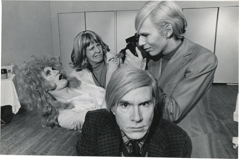 Andy Warhol and the cast of Pork. Andy Warhol, Cleve Reller, Wayne County, Anthony Zanetta, Jack Mitchell, subjects, photographer.
