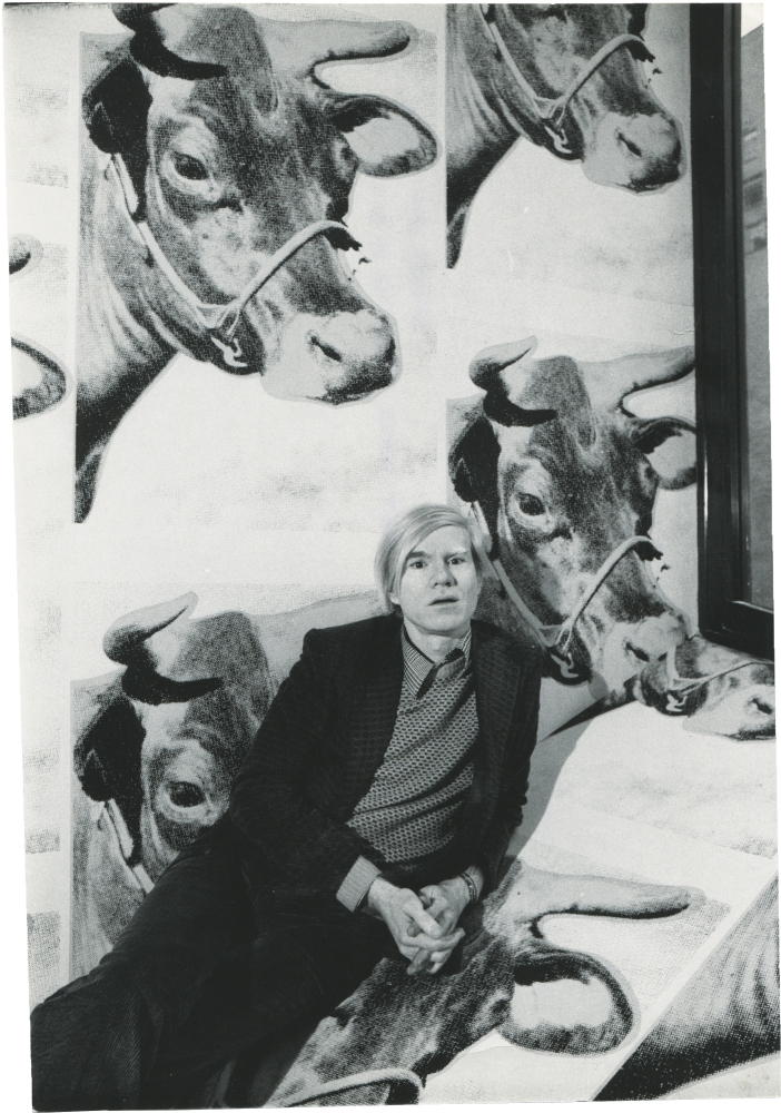 Andy Warhol at his 1971 retrospective at the Whitney Museum of American Art. Andy Warhol, Jack Mitchell, subject, photographer.