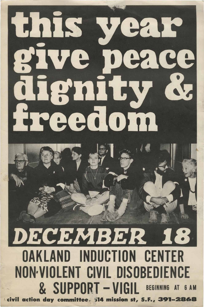 This Year Give Peace Dignity & Freedom. Protest Poster.