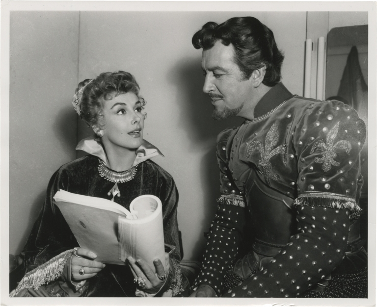 Quentin Durward (Original photograph of Robert Taylor and Kay Kendall from the set of the 1955 film. Richard Thorpe, Walter Scott, George Froeschel Robert Ardreey, Kay Kendall Robert Taylor, Robert Morley, director, novel, screenwriter, starring.