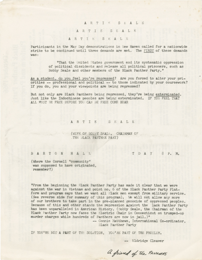 Original flyer for a speaking engagement by Artie Seale, 1970. Artie Seale.