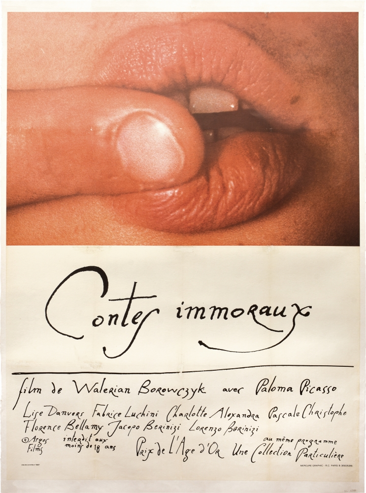 Immoral Tales [Contes immoraux]. Walerian Borowczyk, Andre Pieyre de Mandiargues, Jean Baptiste de Boyer, Valentine Penrose, Paloma Picasso Lisa Danvers, Fabrice Luchini, Charlotte Alexandra, screenwriter director, story, novel, poem, starring.