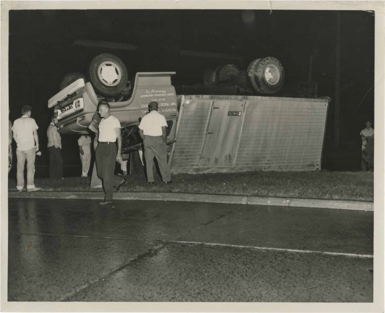 Archive of 48 original photographs of car accident scenes, 1961-1968. Automobile accidents.