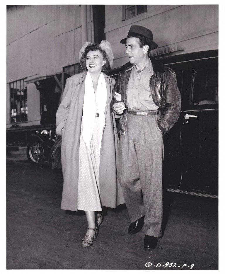 Original photograph of Paulette Goddard and Humphrey Bogart on the Columbia Studios lot, 1949. Humphrey Bogart, Paulette Goddard, Joe Walters, subjects, photographer.