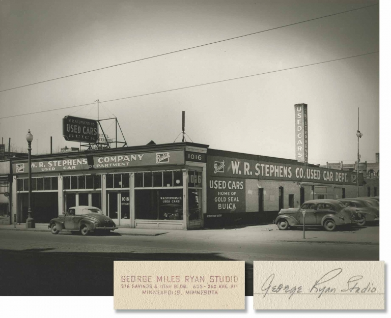 Archive of 20 oversize photographs of Buick auto dealerships, circa 1940s. George Miles Ryan, photographer.