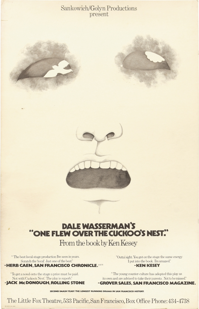 One Flew Over the Cuckoo's Nest. Dale Wasserman, Ken Kesey, Lee Sankowich, play, novel, director.