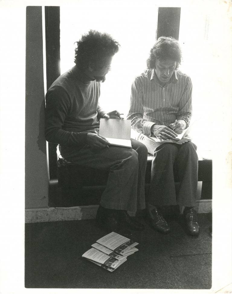 Original photograph of E.D. Berman and Tom Stoppard, circa 1970s. Tom Stoppard, E D. Berman, subjects.