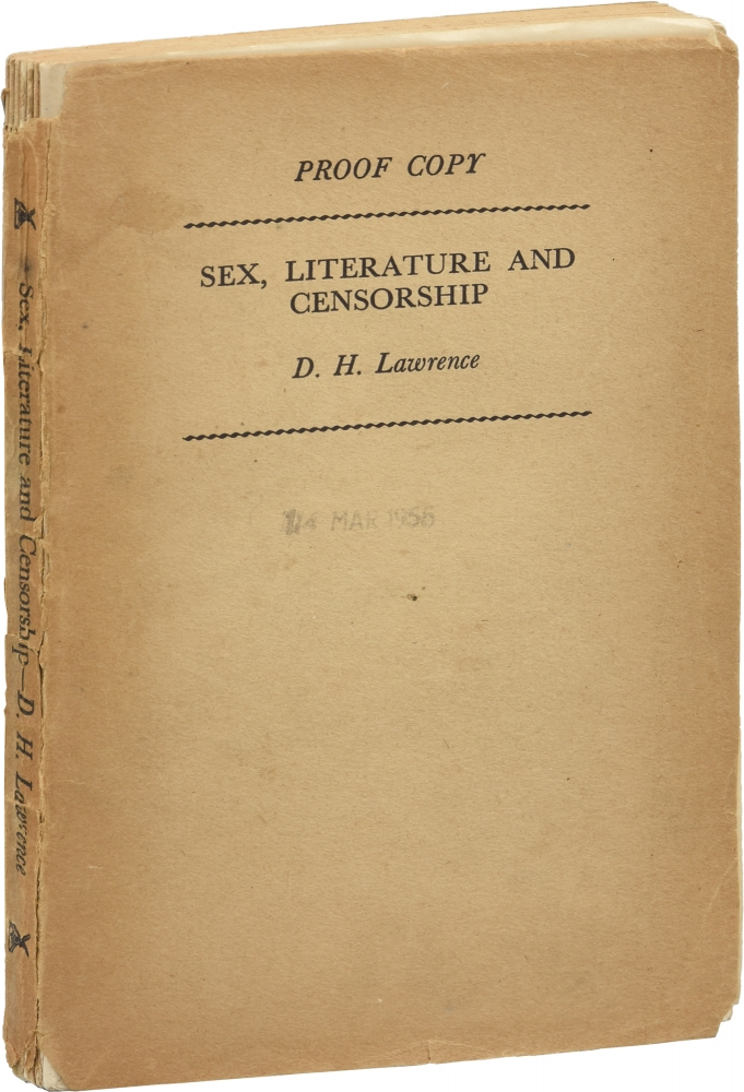 Sex, Literature, and Censorship. D. H. Lawrence, Harry T. Moore.