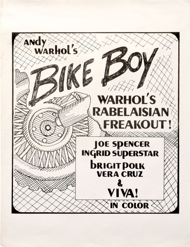Bike Boy. Andy Warhol, Brigid Berlin Joseph Spencer, Viva, Ingrid Superstar, screenwriter director, starring.