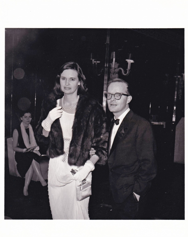 Truman Capote and Gloria Vanderbilt at the 54th Street Theatre, February 16, 1960. Truman Capote, Gloria Vanderbilt, subjects.