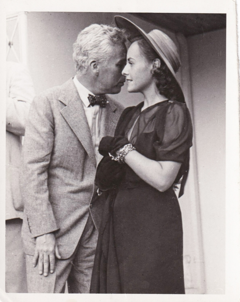 Original photograph of Charlie Chaplin and Paulette Goddard, circa 1940. Charlie Chaplin, Paulette Goddard, Charles Rhodes, subjects, photographer.