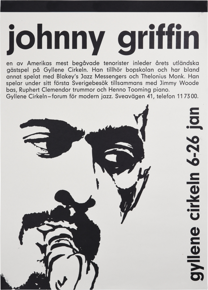 Original poster for a performance by the Johnny Griffin Quartet, circa 1960s. Johnny Griffin, Ruphert Clemendore Jimmy Woode, Henno Tooming.