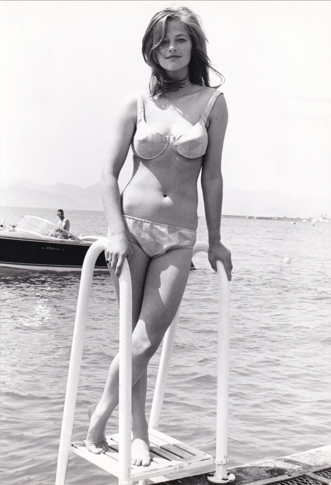 Original photograph of Charlotte Rampling in swimsuit, Cannes, France, May 15, 1965. Charlotte Rampling, subject.
