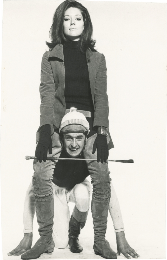 Original photograph of Diana Rigg and Patrick Macnee in a promotional test photograph for The Avengers, circa 1967. Diana Rigg, Alun Hughes, subject, designer.