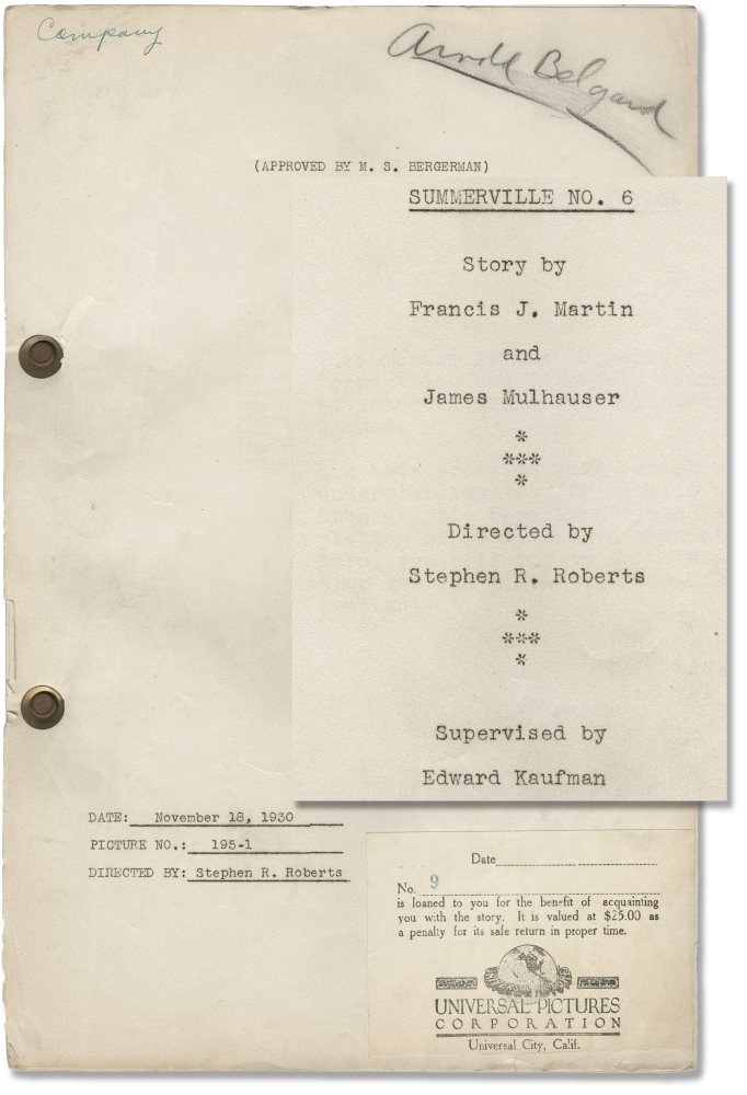 Archive of 19 original screenplays for comedy shorts starring Slim Summerville, 1930-1932. Slim Summerville, Stephen R. Robinson Harry J. Edwards, James Mulhauser Francis J. Martin, Sidney Levee, starring, directors, screenwriters.