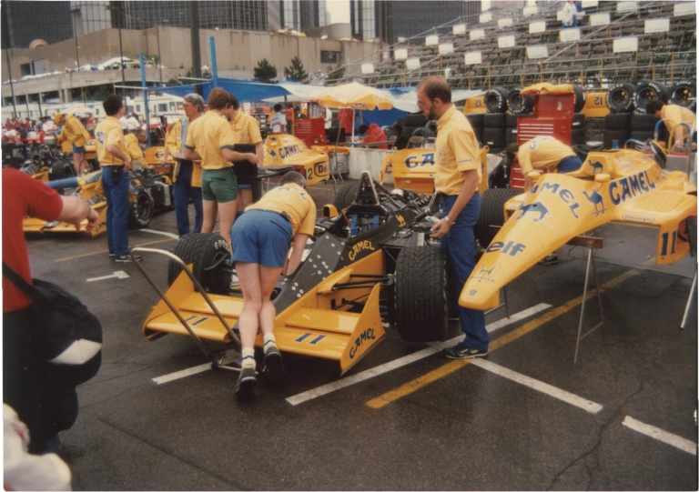 Archive of 120 vernacular photographs of the Detroit Grand Prix, 1986-1988. Auto racing.
