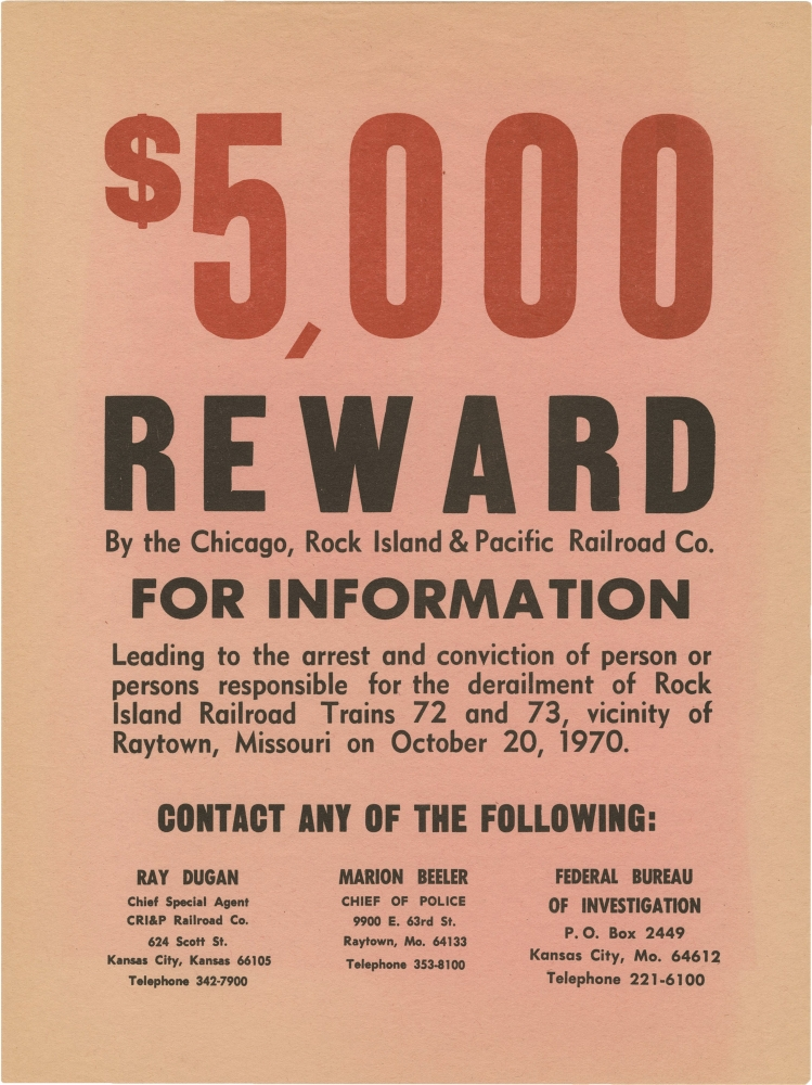 Archive of 32 photographs and a reward poster for a train accident in Raytown, Missouri, 1970. Missouriana, Train accidents, Rock Island Railroad, Pacific Railroad.
