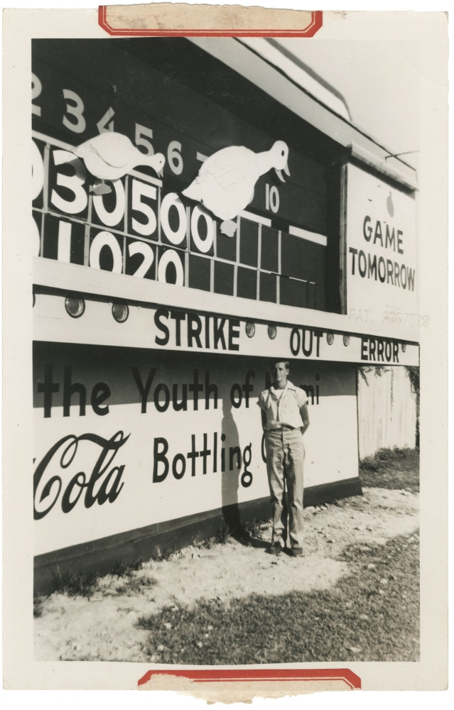 Archive of advertising and photographs for a custom mechanical scoreboard firm in Miami, Florida, circa 1940s. Sports, Scoreboards, Americana.