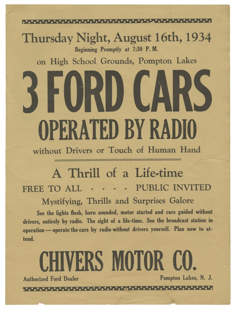 Original flyer for a remote radio-controlled Ford Motors automobile event, 1934. Automobile.
