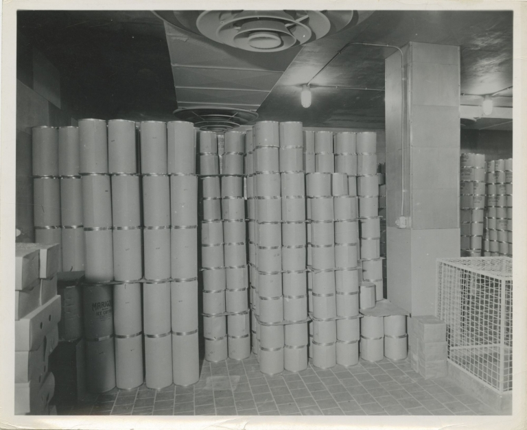 Collection of nine original photographs of industrial dairy freezers, circa 1950s. Industrial freezers.